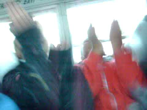 Adrian and Justus doing some dance on the bus