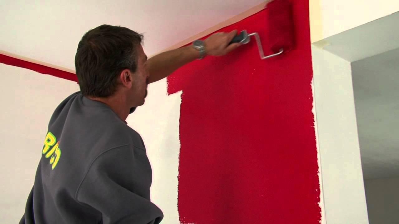 Een muur verven stap voor stap uitgelegd doe het zelf youtube - Grijze en rode muur ...
