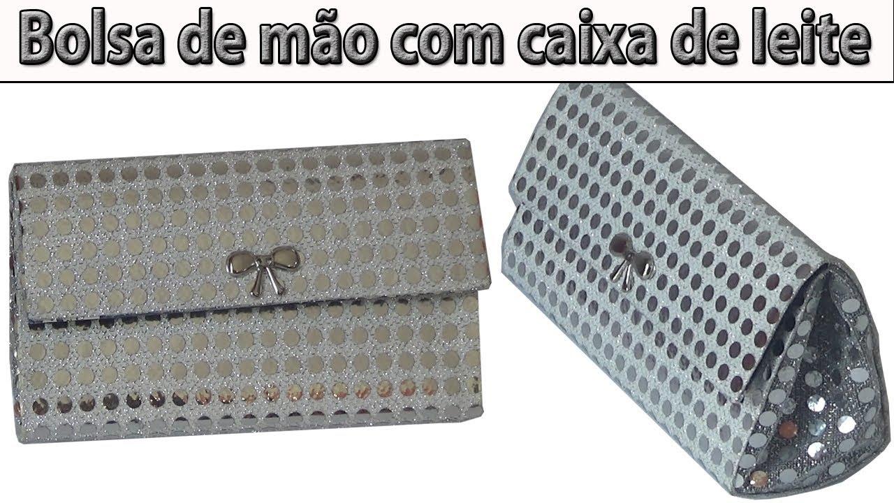 8239b409b BOLSA DE MÃO FEITA COM CAIXA DE LEITE - PASSO A PASSO - YouTube