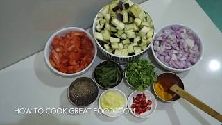 Indian Eggplant Dry Fry Recipe - Vegan Brinjal Baingan Aubergine