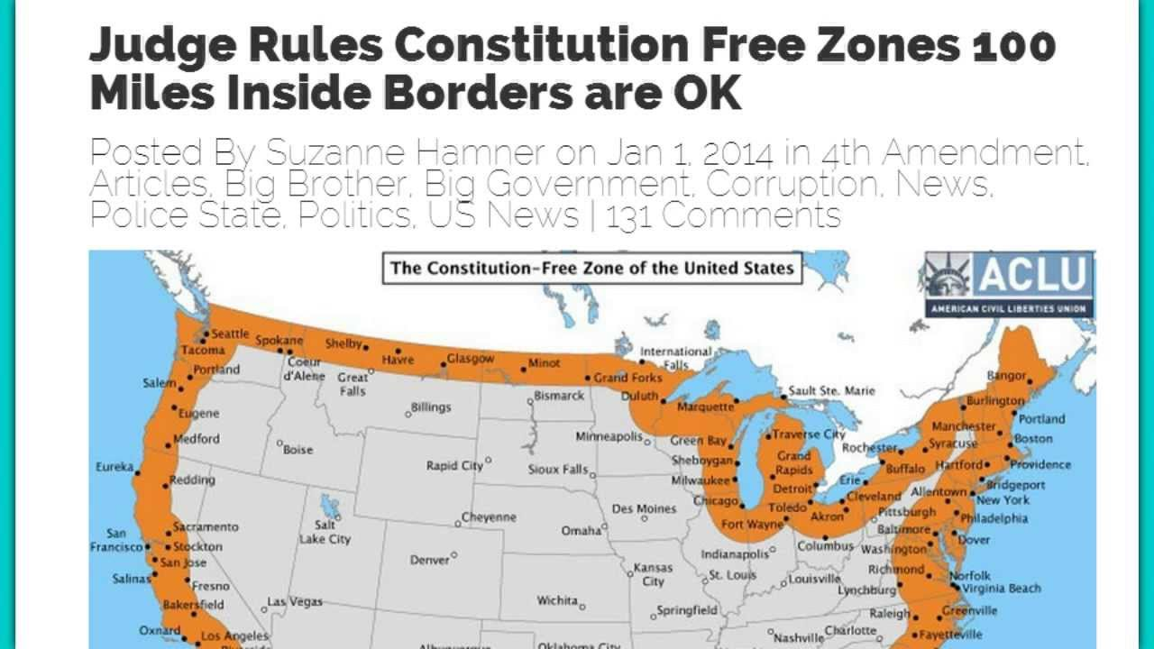 JUDGE OKs MILES INSIDE BORDER A CONSTITUTION FREE ZONE YouTube - Us border patrol 100 mile map