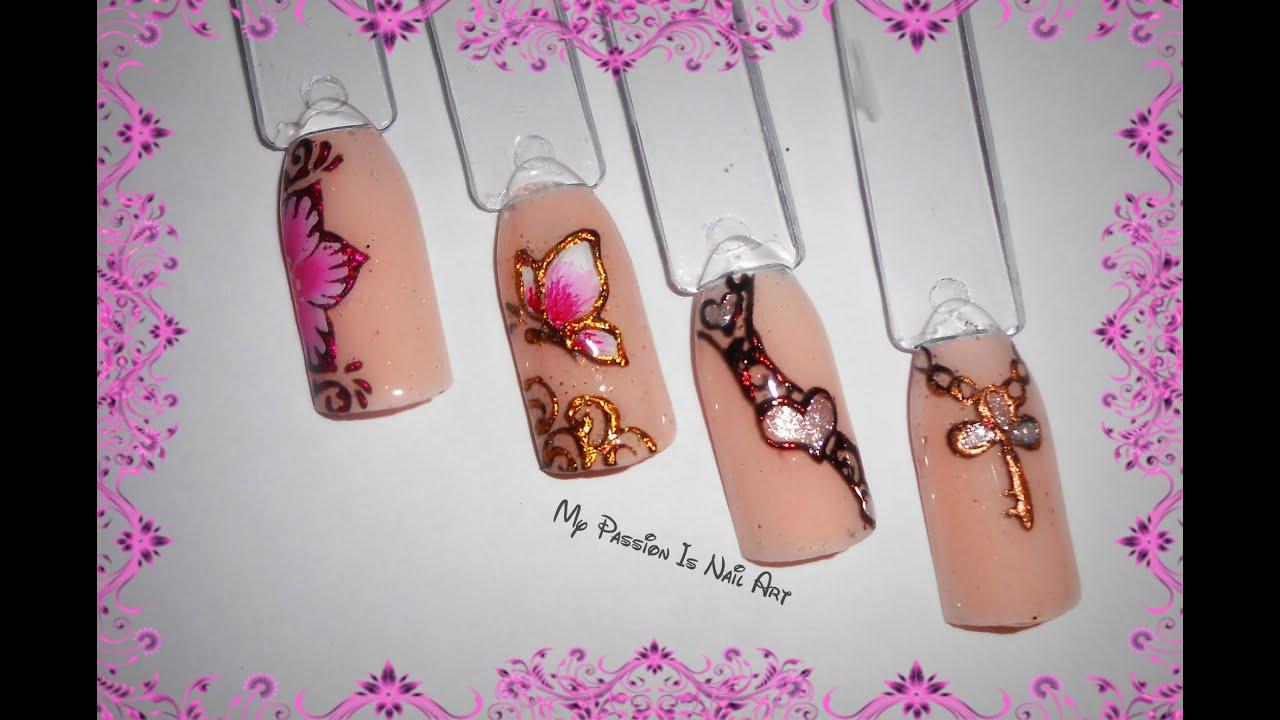 4 Simple Foil nail art - 4 semplici nail art con foil e gel nero ft ...