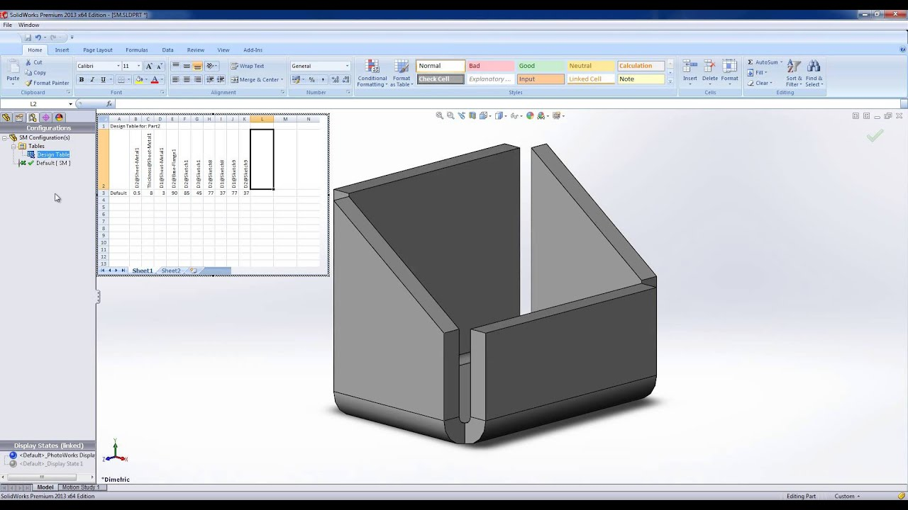 Design Table Solidworks Using Design Tables In Solidworks - Youtube