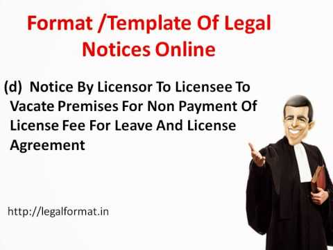 Format/Template of  legal notices document online