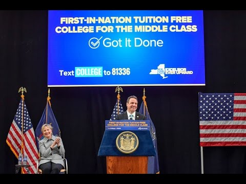 Gov. Cuomo was joined by Hillary Clinton for the signing of legislation to provide tuition-free college at New York's public universities to families making up to $125,000 a year.