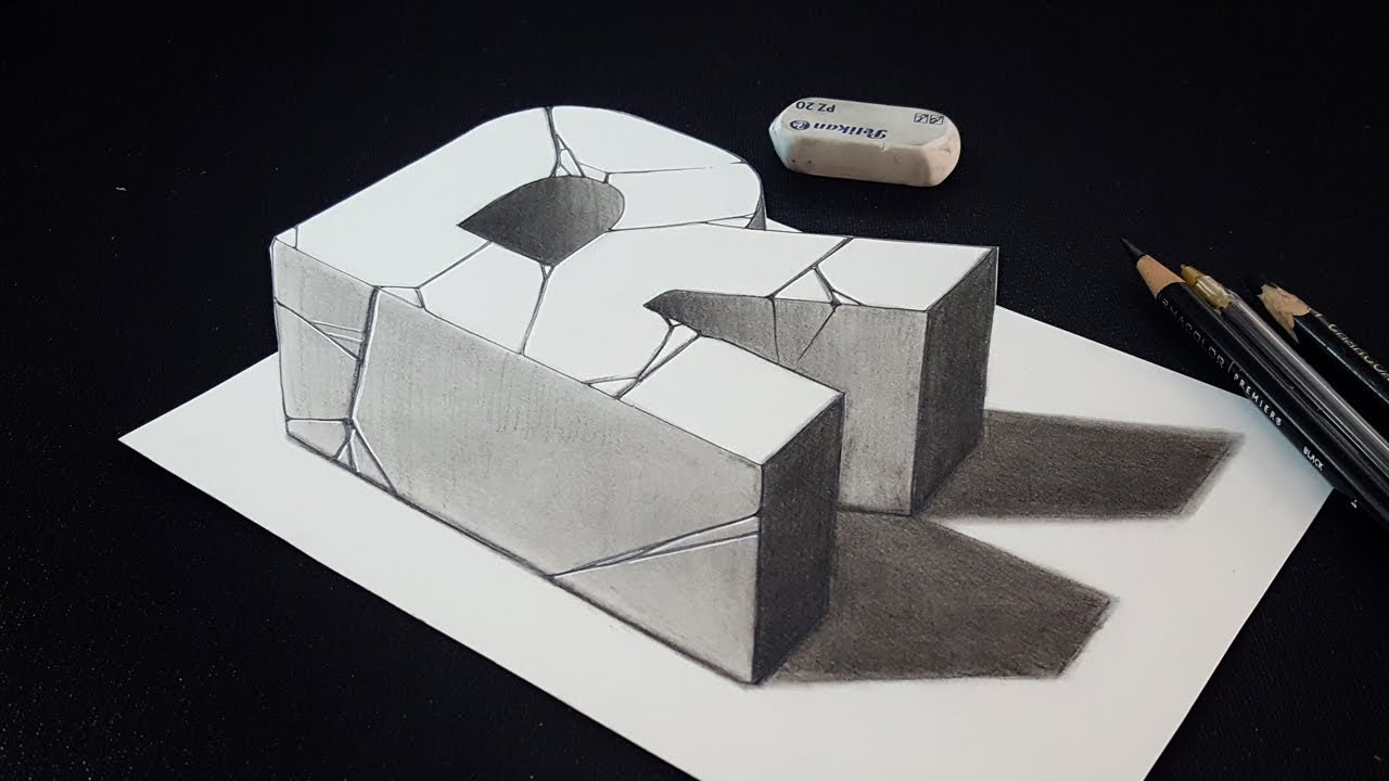 How to draw 3d letter r easy charcoal pencil drawing