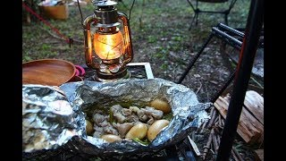 焚き火で料理 山奥にある無料のキャンプ場
