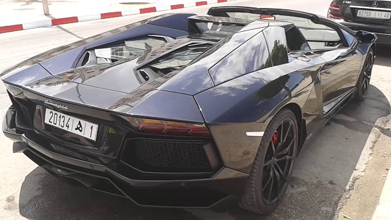 impressionnante lamborghini aventador noir matricul au maroc youtube. Black Bedroom Furniture Sets. Home Design Ideas