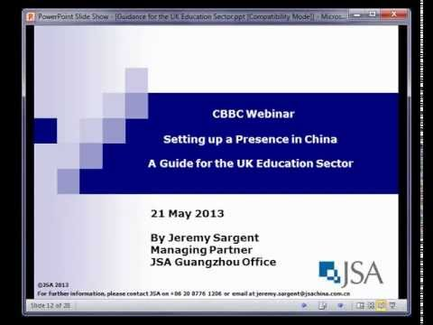 Webinar - Setting up a Presence in China. Guidance for the UK Education Secto
