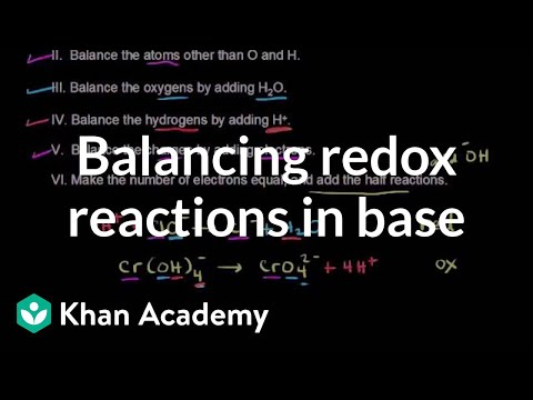 Balancing redox reactions in base | Redox reactions and electrochemistry | Chemistry | Khan Academy