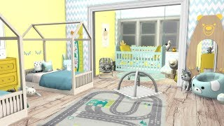 The Sims 4: Speed Build // TWIN TODDLER & BABY NURSERY + CC LINKS