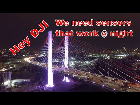 Kosciuszko Bridge at night via drone
