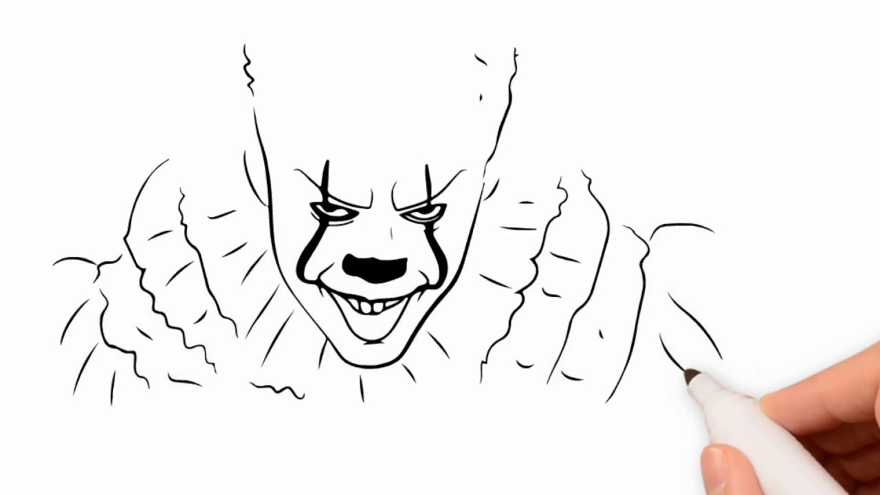 How to Draw Pennywise 2017 Step by Step Drawing Tutorial