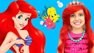 Kids Makeup The Little Mermaid Ariel Princess Disney and Costume Mermaid Tail DRESS UP & Play Dolls