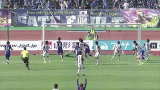 瀬沼 優司(山形)が左後方からのFKを頭で叩き込み、試合終了間際に勝ち...