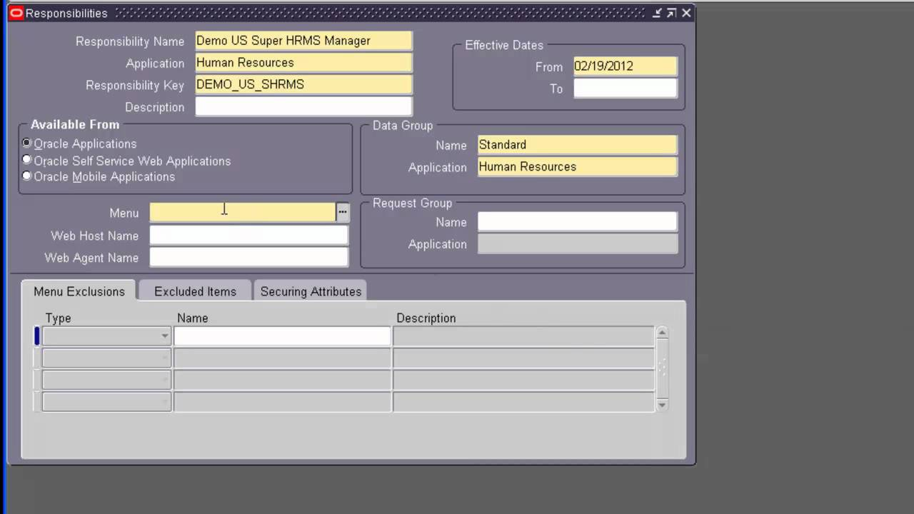 Oracle Apps Hrms Setups Part 1 Youtube