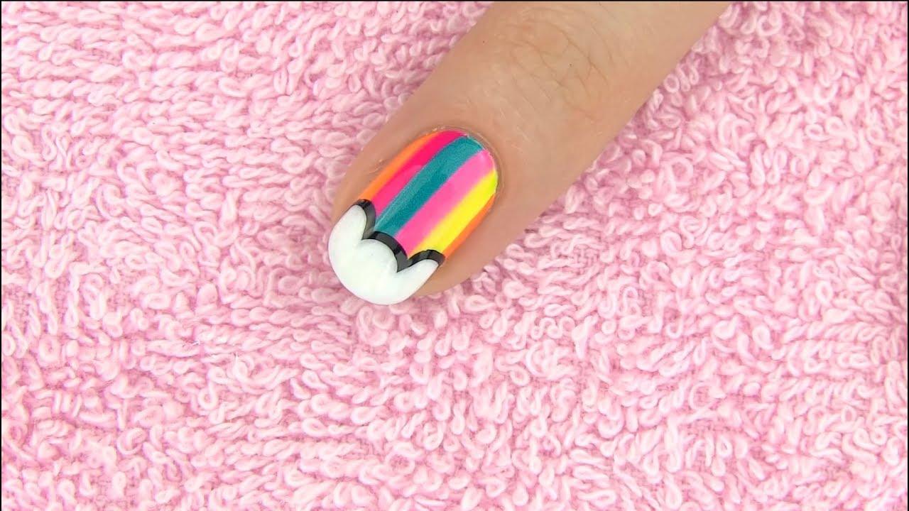 Diseño facil de Uñas decoradas estilo arco iris