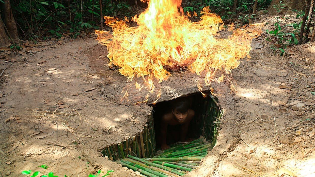 Building Secret Hidden Underground Bamboo House