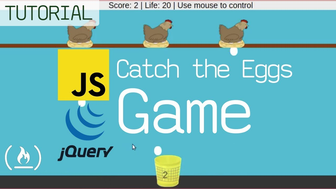 JavaScript / jQuery GameDev Tutorial: Catch the Eggs