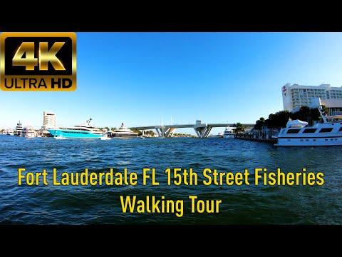 4K60 UHD Fort Lauderdale Florida Walking Tour 15th Street Fisheries - 2019
