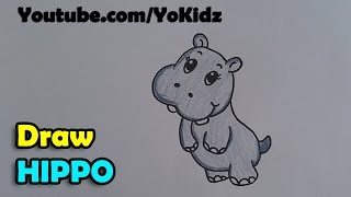How to draw hippopotamus /  hippo cartoon for kids