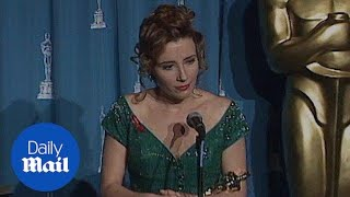Emma Thompson accepts Oscar award for Howards End in 1992 - Daily Mail