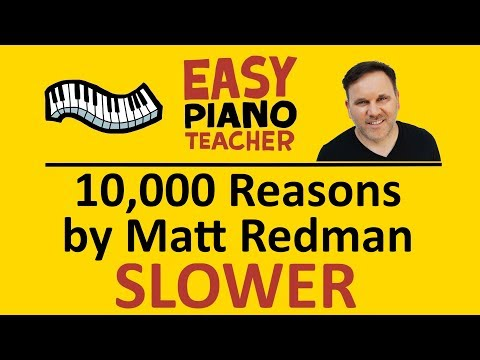 EASY piano: 10,000 Reasons keyboard tutorial SLOW Matt Redman  #EPT