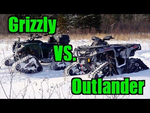 Yamaha Grizzly 700 vs. Can-Am Outlander 1000 - All Terrain Vehicle Track Race -  Feb.15, 2015
