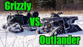 Yamaha Grizzly 700 vs. Can-Am Outlander 1000 - All Terrain Vehicle Track Race -  Feb.15, 2015