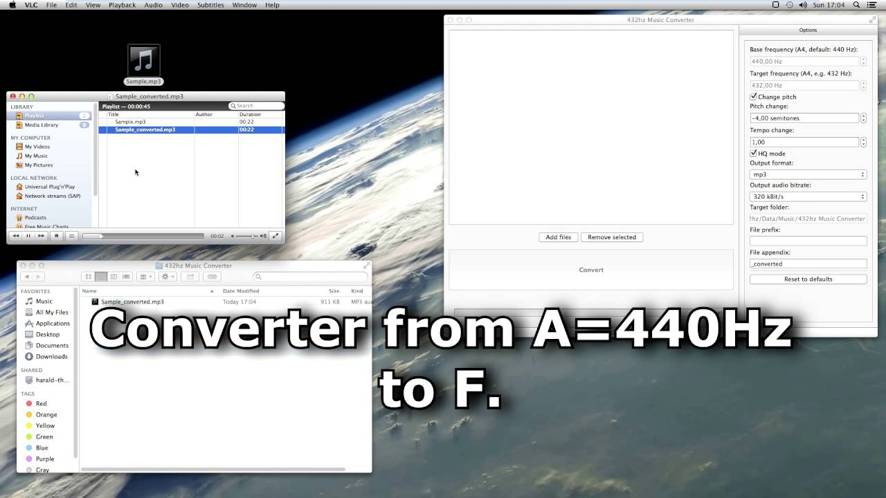 432hz Music Converter application demo