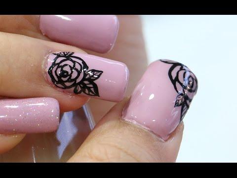 ลายเส้นดอกไม้ จากสีเจล Easy Floral Nails (With colored gel)