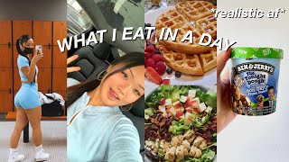 WHAT I EAT IN A DAY | *realistic* college student + my leg workout!
