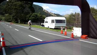 Kapiti Cycle Challenging - Ben crossing the finish line