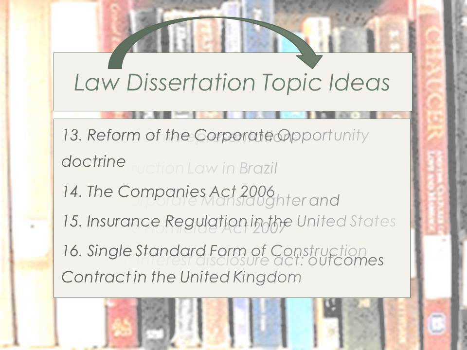 Dissertation law subjects