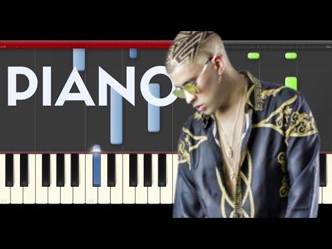 Bad Bunny Solo de Mi Piano Midi tutorial Sheet app Cover Karaoke