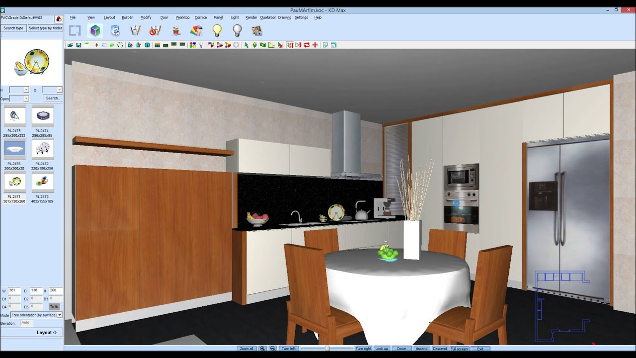 Como acrescentar acess rios de cozinha no kdmax programa for Programa para amueblar cocinas gratis