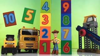 Lego Duplo Numbers Ordering & Tower Building By Toy Story Woody & Cat Construction Vehicles For Kids