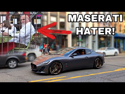 Old Man Hater REACTS To LOUD Maserati And BMW Driver *PUBLIC REACTIONS*