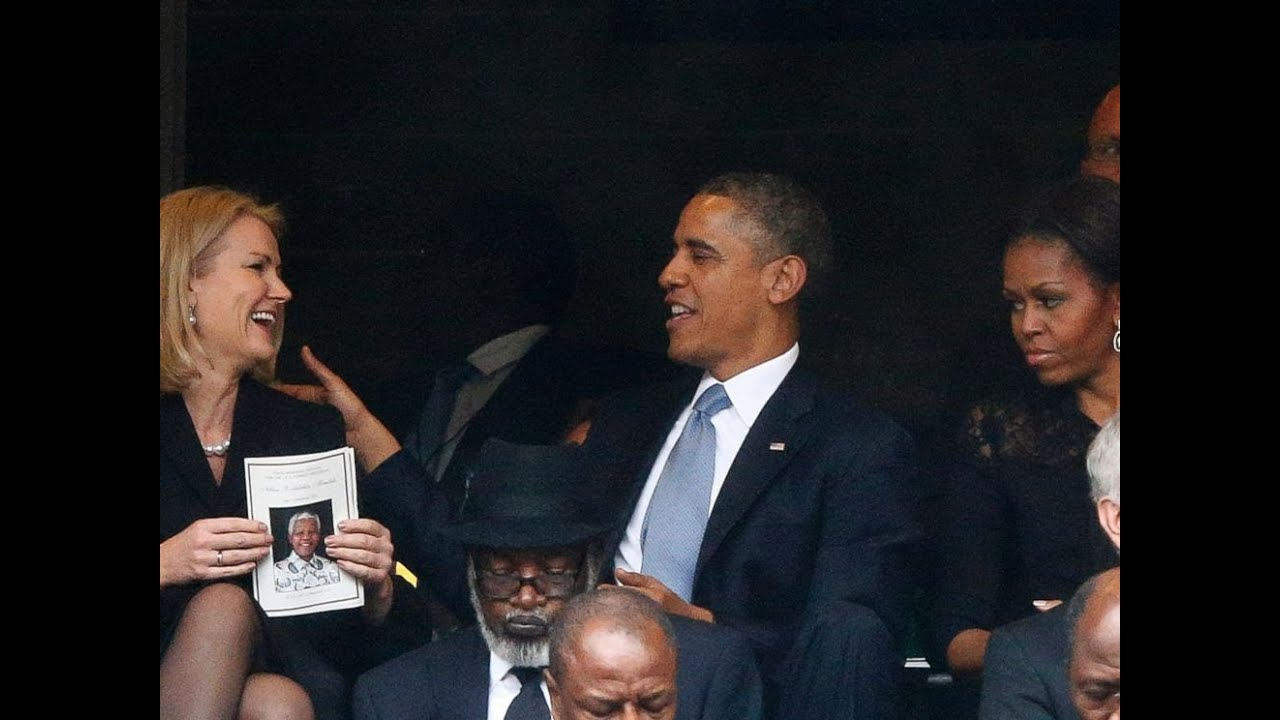 Obama Selfie At Mandela Memorial Annoys First Lady - YouTube