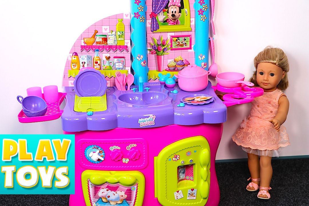 MINNIE MOUSE Toy Set with Bowtastic Kitchen Accessory Set ...