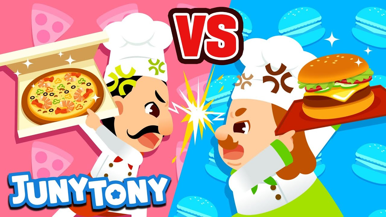 Pizza vs. Hamburger 🍕🍔 | VS Songs for Kids | Food Songs | Preschool Songs | JunyTony
