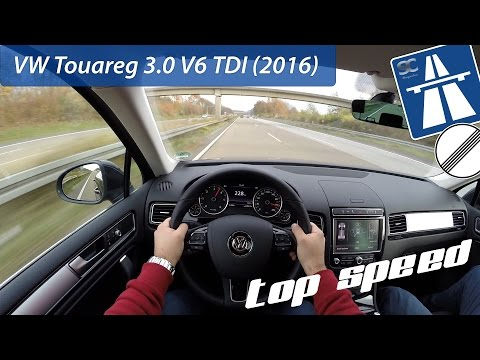 VW Touareg 3.0 V6 TDI (2016) on German Autobahn - POV Top Speed Drive