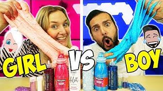 BOY VS GIRL SLIME CHALLENGE - Kaan & Nina machen Jungen & Mädchen XXL Schleim - Welcher ist besser?