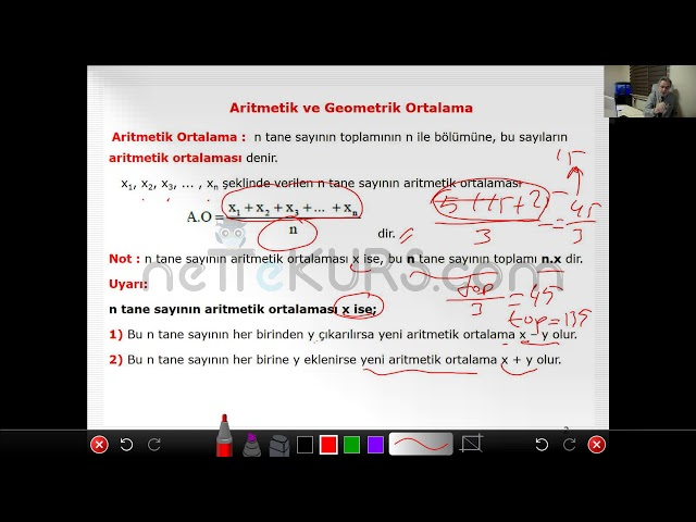 nettekurs.com Online TYT Kursu Matematik Dersleri - 4 / Aritmetik - Geometrik Ortalama
