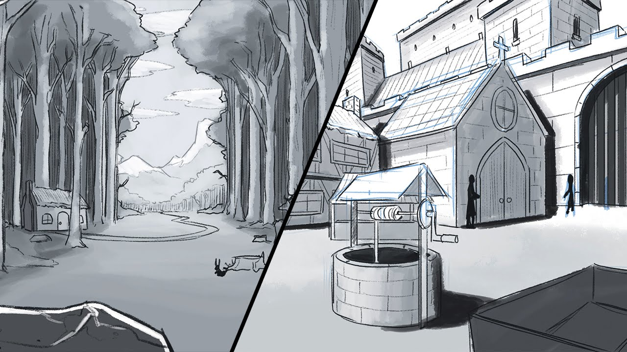 How to draw a background environments and landscapes - Sketch anime wallpaper ...