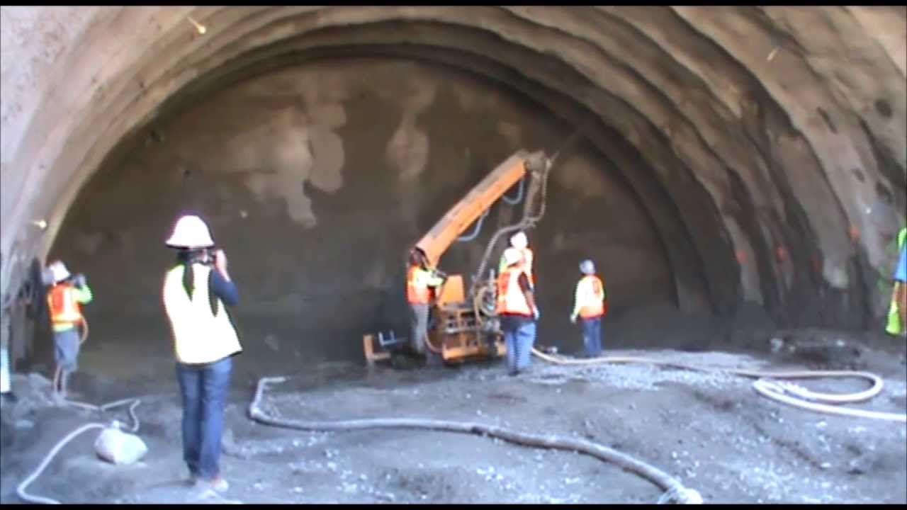 Shotcrete - Low Slump Concrete with Fibers for Tunnel Lining - YouTube