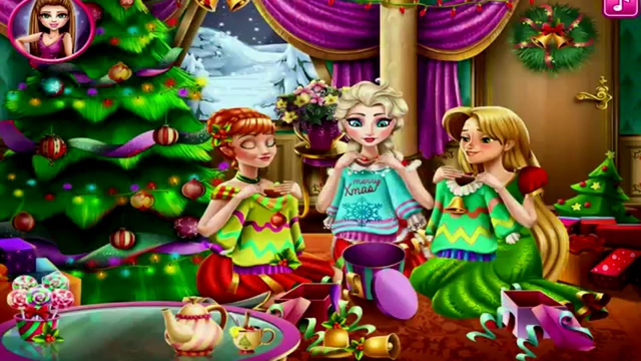 Dress up xmas party - Disney Christmas Party Frozen Elsa Anna Rapunzel Christmas Party Dress Up Game For Kids