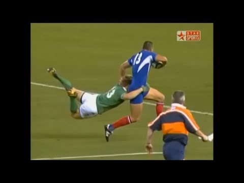 Brian O'Driscoll great try saving tackle on Tony Marsh