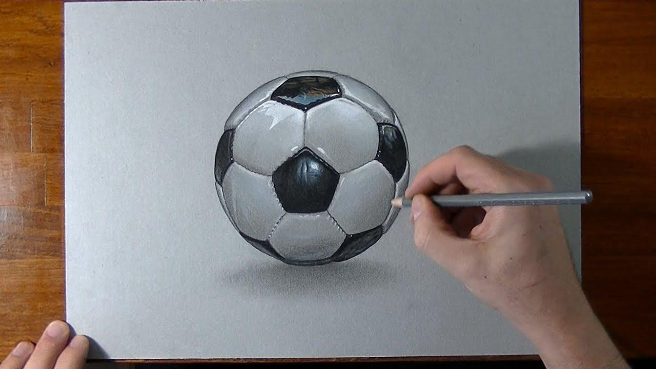 Disegno in time lapse un pallone da calcio youtube for Disegno 3d free