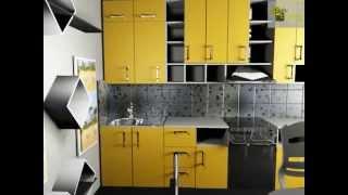 дизайн кухни с желтыми фасадами треугольными и квадратными полками(, 2015-01-12T22:56:59.000Z)